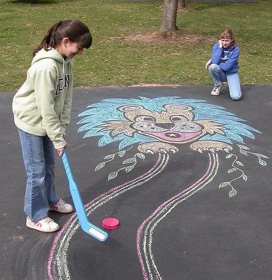 Рисунки на асфальте в детском саду своими руками